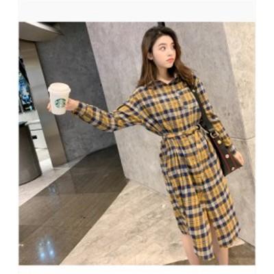 シャツワンピース ひざ丈 体型カバー ボタン 長袖 チェック柄 大人可愛い ガーリー カジュアル 韓国ファッション トレンド レディース き