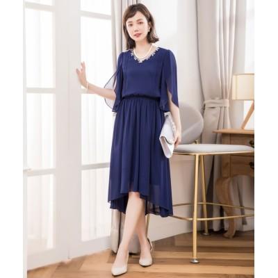 【ドレス スター】 ビジュー付きフィッシュテールシフォンパーティードレス レディース ネイビー Sサイズ DRESS STAR