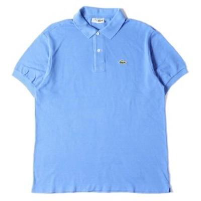 LACOSTE ラコステ ポロシャツ 70s ワッペン付き 鹿の子 コットン 半袖 ポロシャツ ブルー 5 【メンズ】【中古】【K3037】