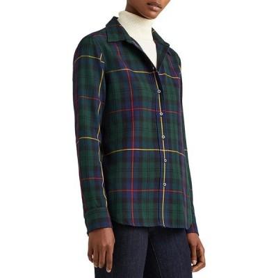 ラルフローレン レディース シャツ トップス Plaid Print Button Front Cotton Shirt Navy/Green Multi