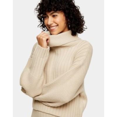 トップショップ レディース ニット・セーター アウター Topshop turn back ribbed crop sweater in neutral Beige