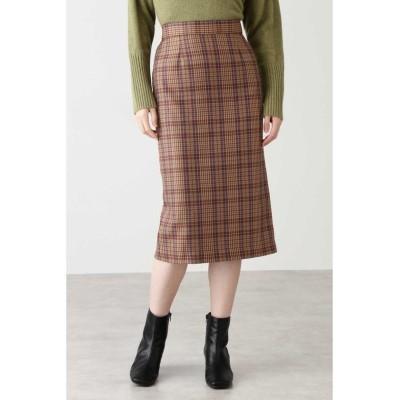 【エヌナチュラルビューティベーシック】 タスランチェックタイトスカート レディース ブラウンチェック1 M N.Natural Beauty Basic