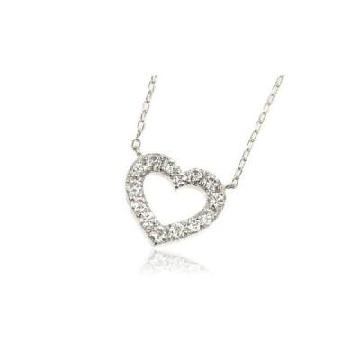 K18WG 0.5ctダイヤモンドオープンハート ネックレス
