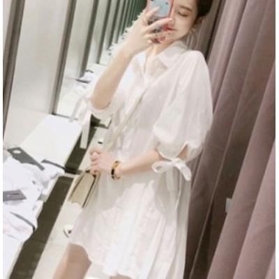 ワンピース バックプリーツ ワンピース 大きいサイズのレディースワンピース  ミニ丈 袖リボン 襟付き カジュアル 韓国
