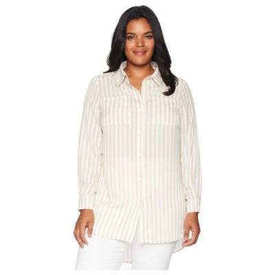カリリン シャツ トップス レディース Plus Size Zora Button Up Tunic Tan/White