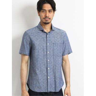 (TAKA-Q/タカキュー)綿麻シャンブレー カットドビーカッタウェイ半袖シャツ/メンズ ネイビー