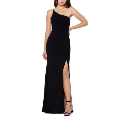 エスケープ ワンピース トップス レディース Petite One-Shoulder High-Slit Gown Black
