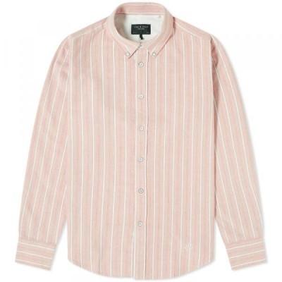 ラグ&ボーン シャツ ジャケット メンズRag & Bone Button Down Tomlin Oxford ShirtRed Stripe