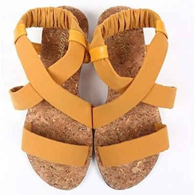 サンダル レディース 歩きやすい かかとゴム フィット コルクソール 3カラー / 3サイズ 36 23cm(マスタード, 23.0 cm)