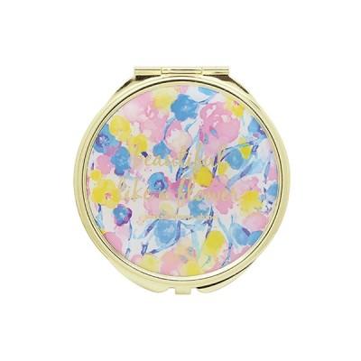 手鏡 ミラー 拡大鏡 キラキラ プレゼント コンパクトミラー フラワーパターン GMR0106-BL ブルー 雑貨 おしゃれ かわいい