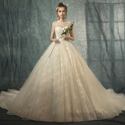 ウェディングドレス 花嫁ドレス パーティードレス プリンセスドレス トレーンライン 結婚式 フォーマルドレス ナイトドレス 披露宴 発表会 細身【sssnetshop】