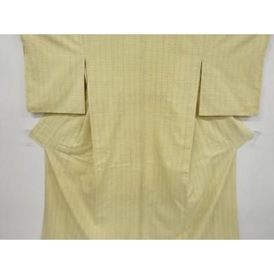 宗sou 縞に十字絣模様織り出し手織り紬着物【アンティーク】【着】