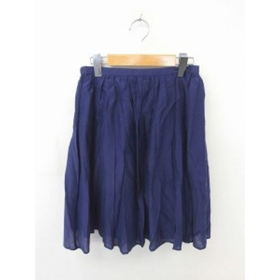【中古】アーバンリサーチ URBAN RESEARCH スカート フレア ギャザー 膝丈 薄手 シルク混 ONE 紫 パープル /TT22