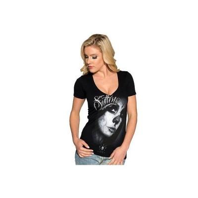 Tシャツ サレン レディース Sullen ラブd V Neck Tシャツ ブラック Day of the Dead Girl Tattoo Art