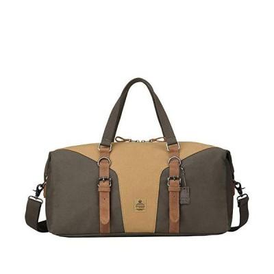 Troop London TRP0432 Heritage Canvas Leather Travel Duffel Bag | Canvas Holdall | Gym Bag (Green Camel) 並行輸入品