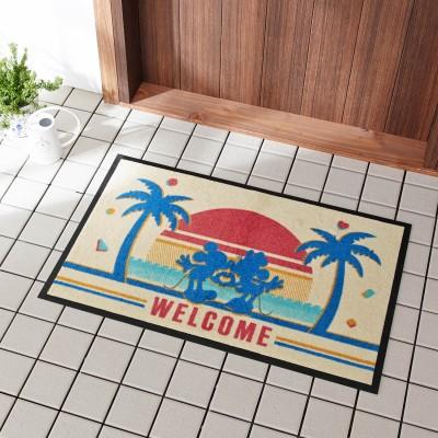 【おうちディズニー】ハワイデザインの泥落とし屋外玄関マット「ミッキー&ミニー」(ディズニー)