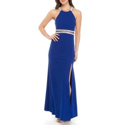 シークインハーツ レディース ワンピース トップス Women's Rhinestone Embellished Halter Gown