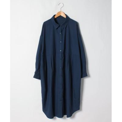 【ラナン】 ウエストタックデザインシャツワンピース レディース ネイビー LL Ranan