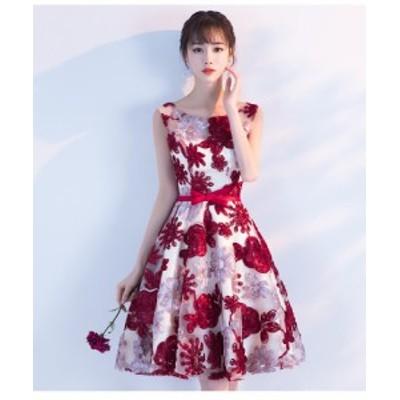 ワンピース ドレス スリーブレス 花柄 刺繍 エンブロイダリー パーティー ノースリーブ