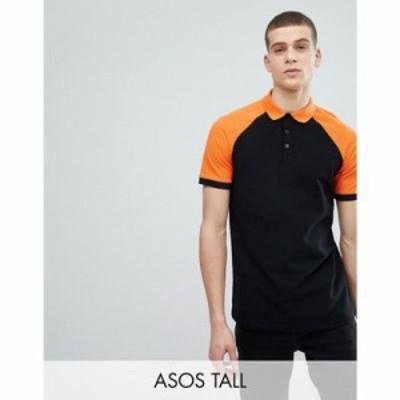 エイソス ポロシャツ DESIGN Tall pique contrast raglan polo Black/ puffins bill