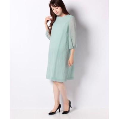 La Festa chic/ラフェスタシック ちりめんエンボス加工 袖付ドレス グリーン 13