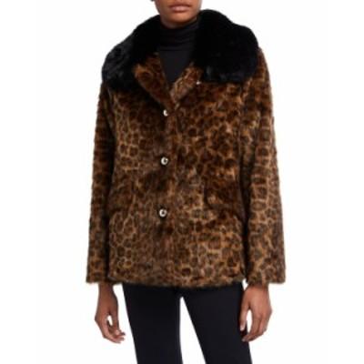 ケイトスペード レディース コート アウター long-sleeve faux fur leopard coat BROWN PATTERN