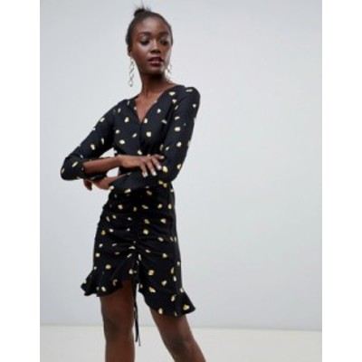 リバーアイランド レディース ワンピース トップス River Island heart print tea dress in black Multi