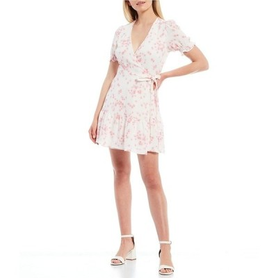 ジアーニビニ レディース ワンピース トップス Tara Short Sleeve V-Neck Wrap Floral Dress Pink Ditsy