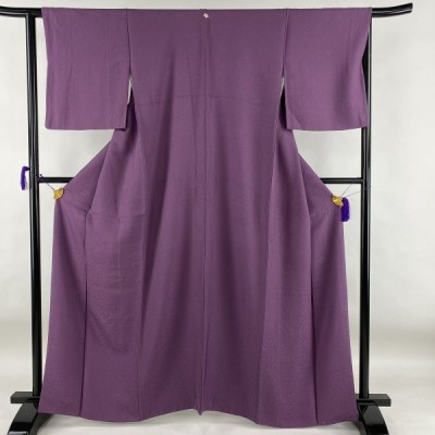 P15倍 色無地 秀品 一つ紋 地紋 紫 袷 身丈162.5cm 裄丈64cm M 正絹 中古