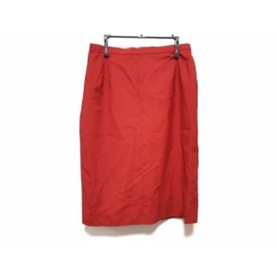 バーバリーズ Burberry's スカート サイズ11 M レディース 美品 - レッド ひざ丈【中古】20201101