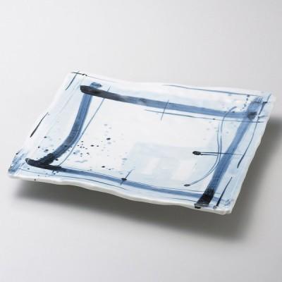 業務用食器 呉須格子長角6.5寸皿 20×19.5×3.4�