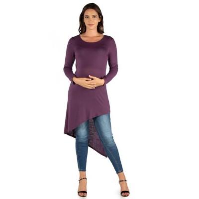 ユニセックス 衣類 トップス 24seven Comfort Apparel Long Sleeve Knee Length Asymmetrical Maternity Tunic Top ブラウス&シャツ