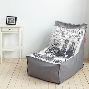 【班尼斯】漫步城市 高靠背L型座椅幾何印花懶骨頭沙發椅