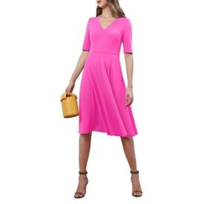 ドナモーガン レディース ワンピース トップス V-Neck Stretch Crepe Dress ELECTRIC P