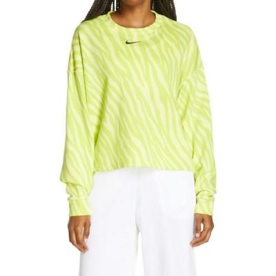 ナイキ NIKE レディース スウェット・トレーナー クロップド トップス Sportswear Icon Clash Wild Print Crop Sweatshirt Light Yellow/Black