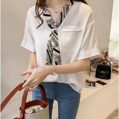 即納 可愛い韓国風ファッション/レディースブラウス/半袖 Tシャツ/ シフォンシャツ 通勤 通学 OLシャツ
