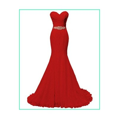 SOLOVEDRESS Women's Lace Wedding Dress Mermaid Evening Dress Bridal Gown with Sash (US 16 Plus,Red)並行輸入品