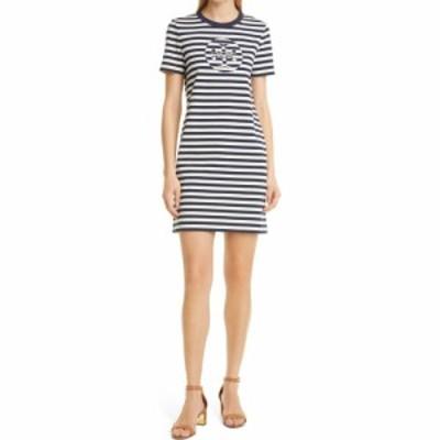 トリー バーチ TORY BURCH レディース ワンピース Tシャツワンピース ワンピース・ドレス Logo Stripe T-Shirt Dress Tory Navy/New Ivor