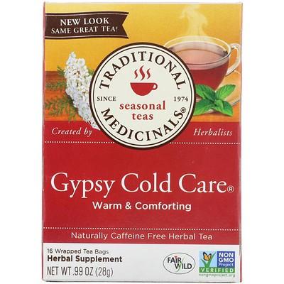 Seasonal Teas, Gypsy Cold Care, Naturally Caffeine Free, 16 Wrapped Tea Bags, .99 oz (28 g)