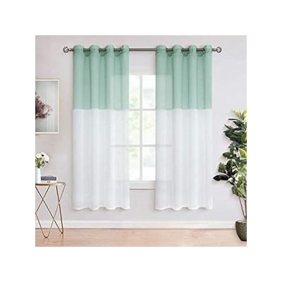 BGment Color Block Sheer Curtains for Living Room - Faux Linen Grommet Ligh