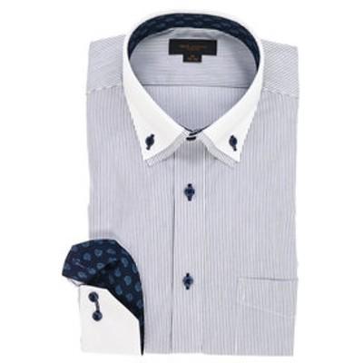 ストレッチ形態安定スリムフィット 2枚衿ボタンダウン長袖ビジネスドレスシャツ