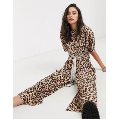エイソス レディース ワンピース トップス ASOS DESIGN plisse tie front jumpsuit in leopard print