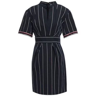 サンドロ SANDRO レディース ワンピース ミニ丈 ワンピース・ドレス francine pleated striped cotton and linen-blend mini dress Navy