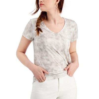 スタイルアンドコー Tシャツ トップス レディース V-Neck T-Shirt, Created for Macy's Tropical Dye Grey