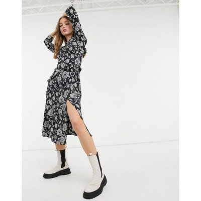 トップショップ レディース ワンピース トップス Topshop ruffle detail midi dress in black and gray floral