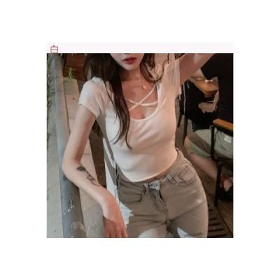 【送料無料】夏 小 心 機 襟回り クロス デザイン 感 シャツ シャツ 女 着やせ | 364331_A63281-4645729