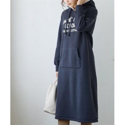 【裏ボア】ロング丈プリントパーカーワンピース (ワンピース)Dress