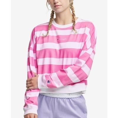 チャンピオン カットソー トップス レディース Women's Striped Cropped Cotton Sweatshirt White/fantastic Fucshia