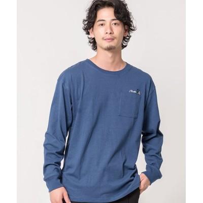 【シルバーバレット】 CavariAUSAコットン刺繍入りスケボープリントクルーネック長袖Tシャツ メンズ ブルー 44(M) SILVER BULLET