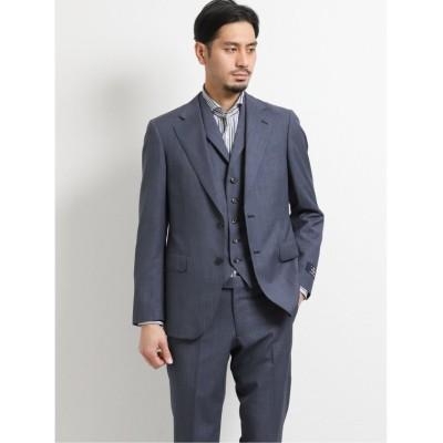 (TAKA-Q/タカキュー)マルゾット/MARZOTTO ウール スリムフィット2釦3ピーススーツ 紺マイクロ/メンズ ネイビー